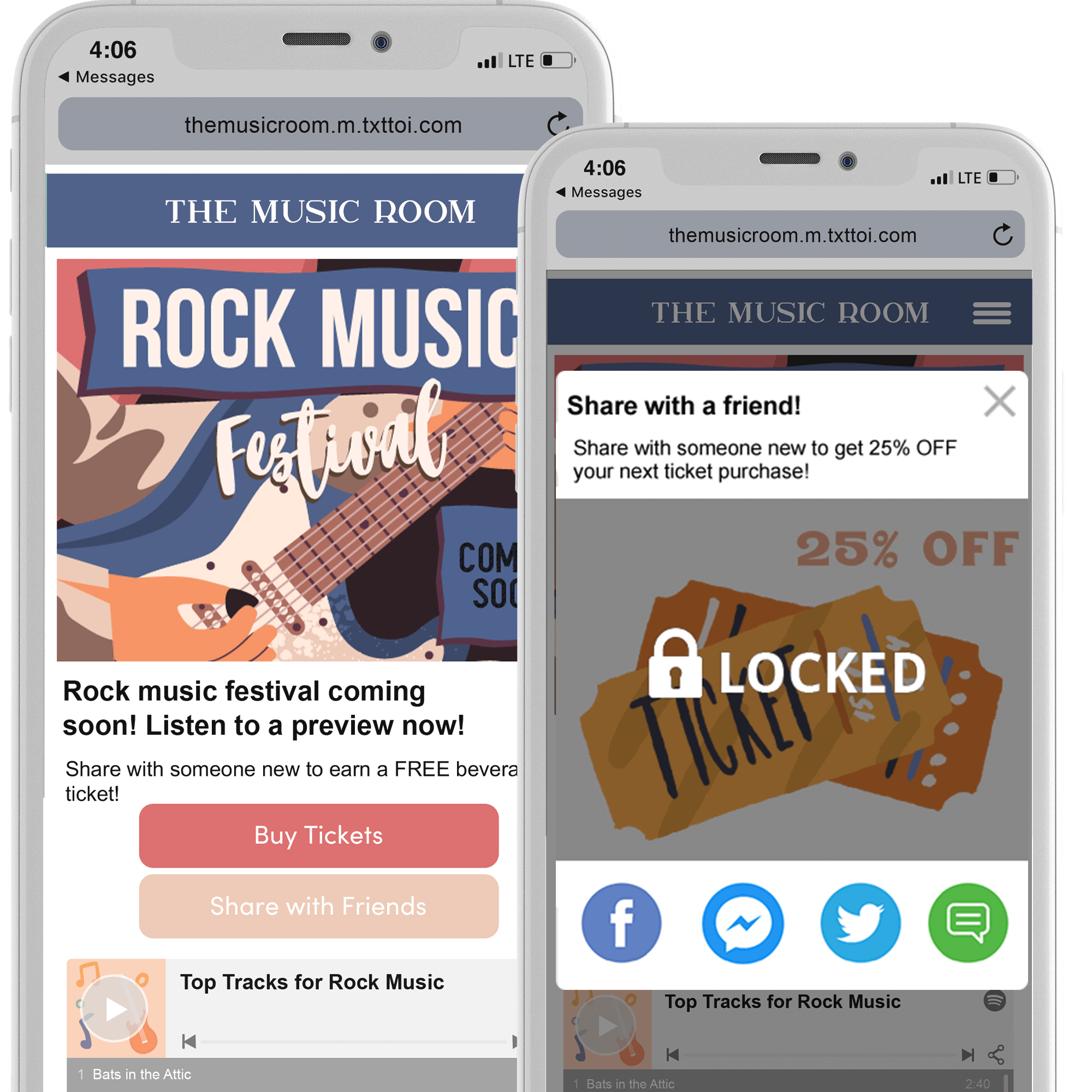 Music and Events Centers share to earn bonus offers example phones
