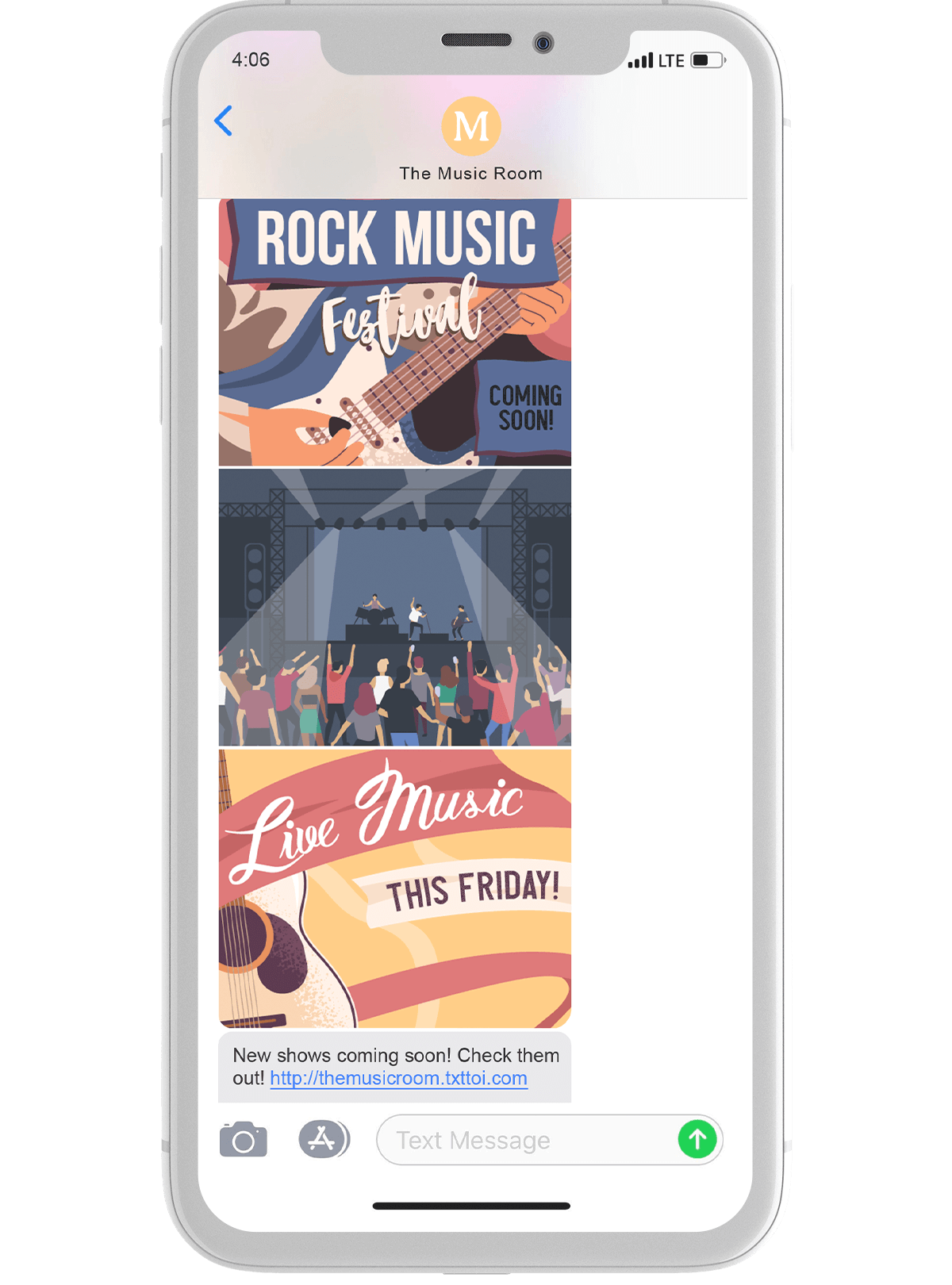 Music and Event Center Text Thread