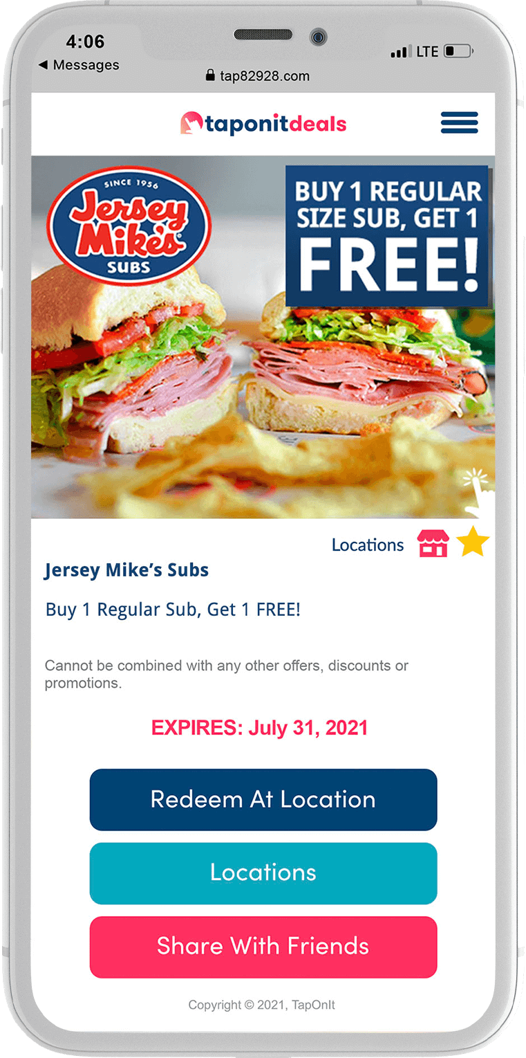 TapOnIt Deals Jersey Mike's Offer Example Phone